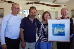 Team Catherine the Bembridge Canvas winners 2014 receive prize from Lisa Jessel Rear Commodore, Bembridge Sailing Club
